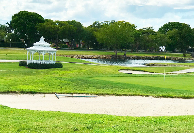 A gazebo is pictured next to a pond at Miccosukee Golf & Country Club in Miami